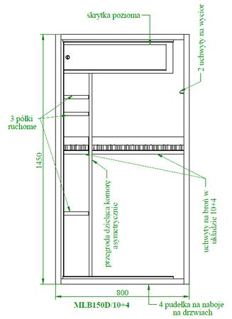 Szafa na broń CERTYFIKAT S1 KONSMETAL 150D/10+4  zamek elektroniczny (2)