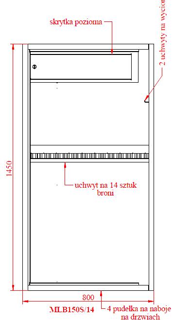 Szafa na broń MLB 150S/14 E zamek ELEKTRONICZNY (2)